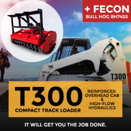 Rent Bobcat T300 Compact Track Loader and Fecon Bull Hog model BH74SS